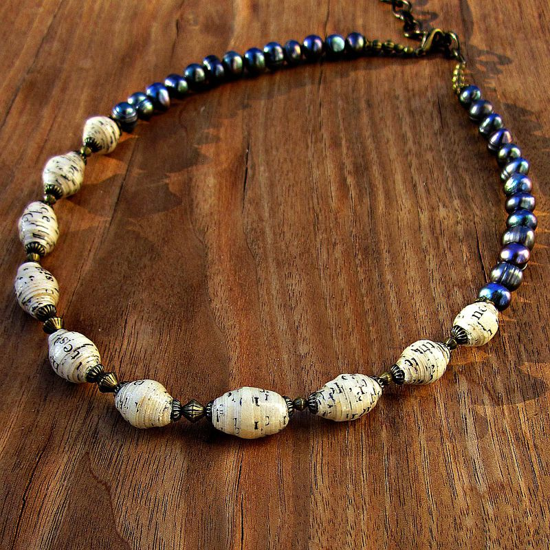 Necklace with Blue Beads and Adjustable Toggle Closure SALE