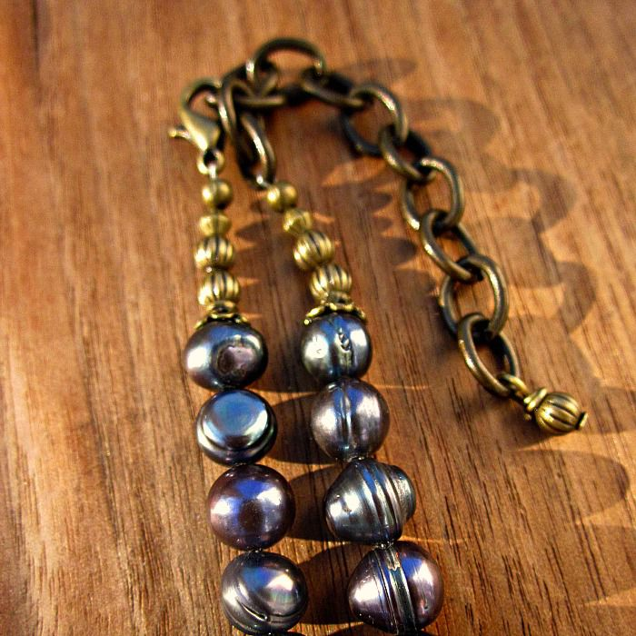 Adjustable Blue Pearl and Recycled Paper Bead Necklace - product images  of