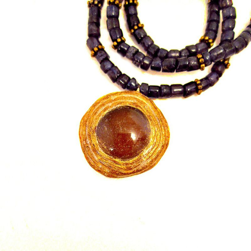 Adjustable Beaded Purple Iolite and Salvaged Glass Pendant Necklace: Sheba - product images  of