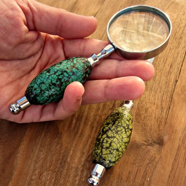 Paper Mache Embellished Desk Accessory Set: Magnifying Glass and Letter Opener with Crackled Paper Mache Handles: Estate - product images  of