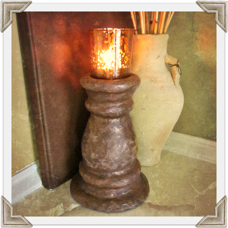 Handmade Decorative Rustic Paper Mache Candleholder with Glass Cup - product images  of