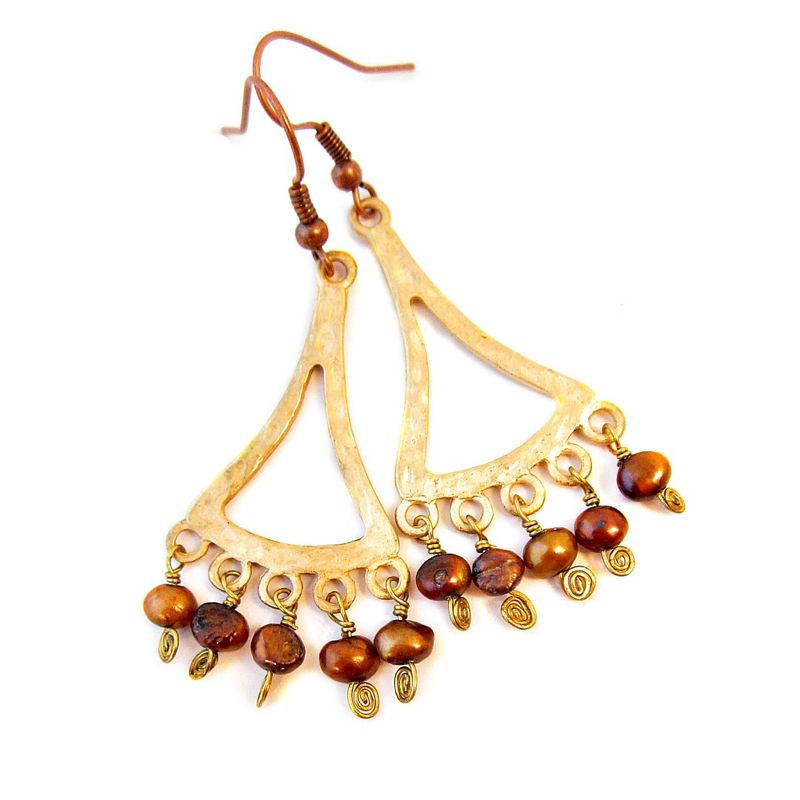 Gilt gold and copper pearl chandelier dangle earrings created by rene gilt gold and copper pearl chandelier dangle earrings product images of aloadofball Image collections