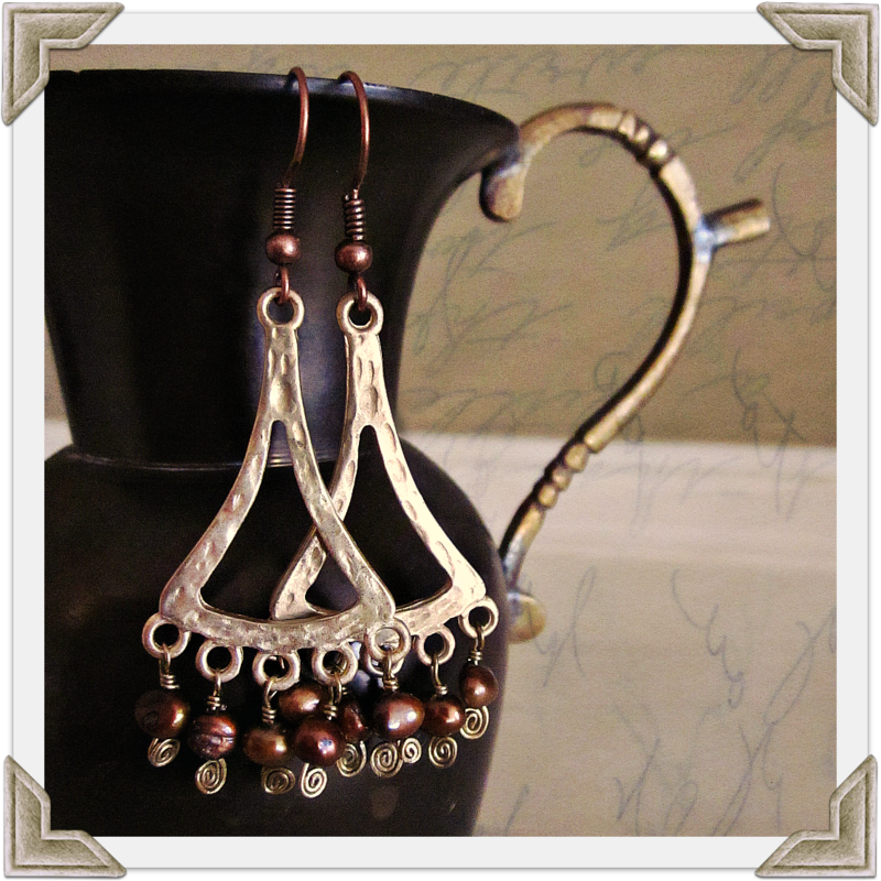Gilt Gold and Copper Pearl Chandelier Dangle Earrings - product images  of