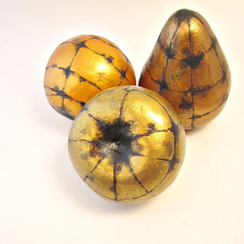 Handmade paper mache accent fruit set of three decorative for Paper mache objects