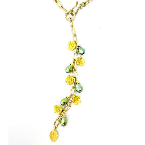 Long,Gilt,Gold,Chain,Lariat,with,Green,Crystal,and,Leaf,Flower,Charms,gilt gold lariat necklace, bright gold lariat necklace, bright gold chain necklace, handmade gold necklace, elegant, adjustable lariat necklace, green and gold necklace, formal necklace, long lariat necklace