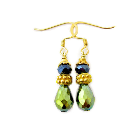 Gilt,Gold,Green,and,Slate,Glass,Teardrop,Dangle,Earrings,gilt gold and green dangle earrings, elegant handmade dangle earrings, small green and gold dangle earrings, shimmery dangle earrings, formal dangle earrings