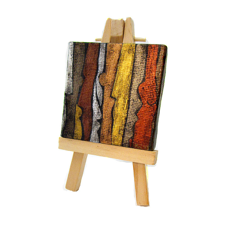Miniature Original Silver Copper Gold Abstract Acrylic Painting on 2x2 Square Canvas with Easel: Company - product images  of