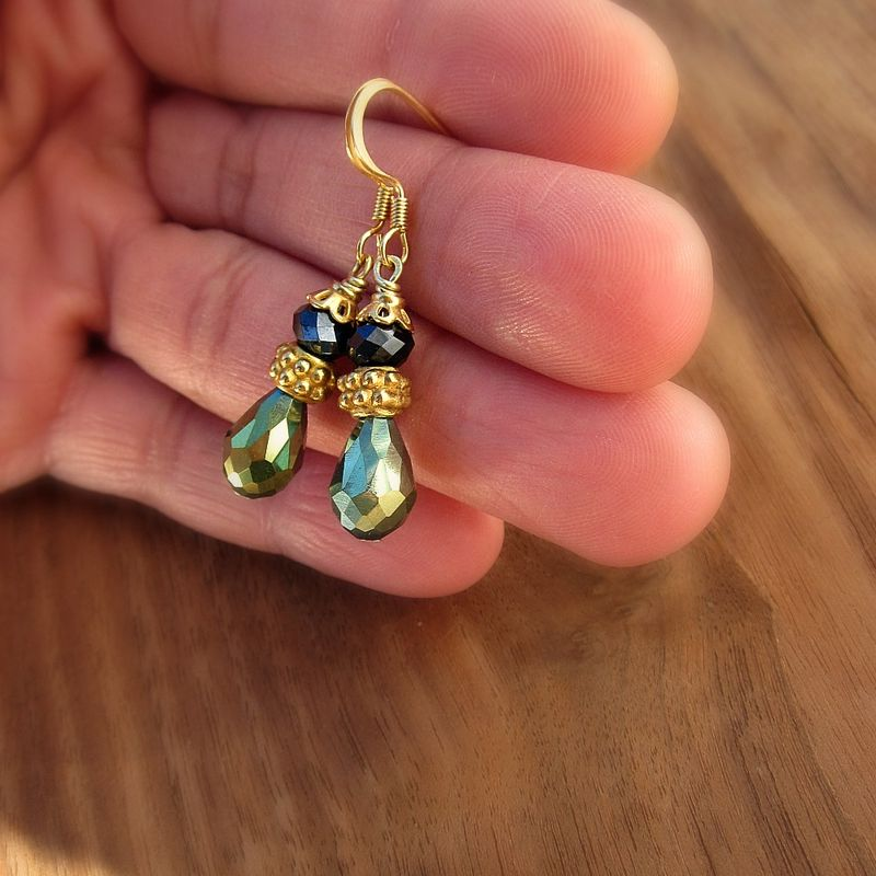 Gilt Gold Green and Slate Glass Teardrop Dangle Earrings - product images  of