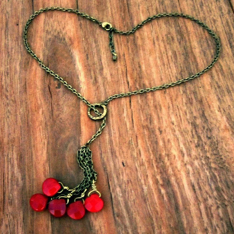 Adjustable Rustic Brass Chain Lariat Necklace with Faceted Ruby Briolettes: Lassoed Hearts - product images  of