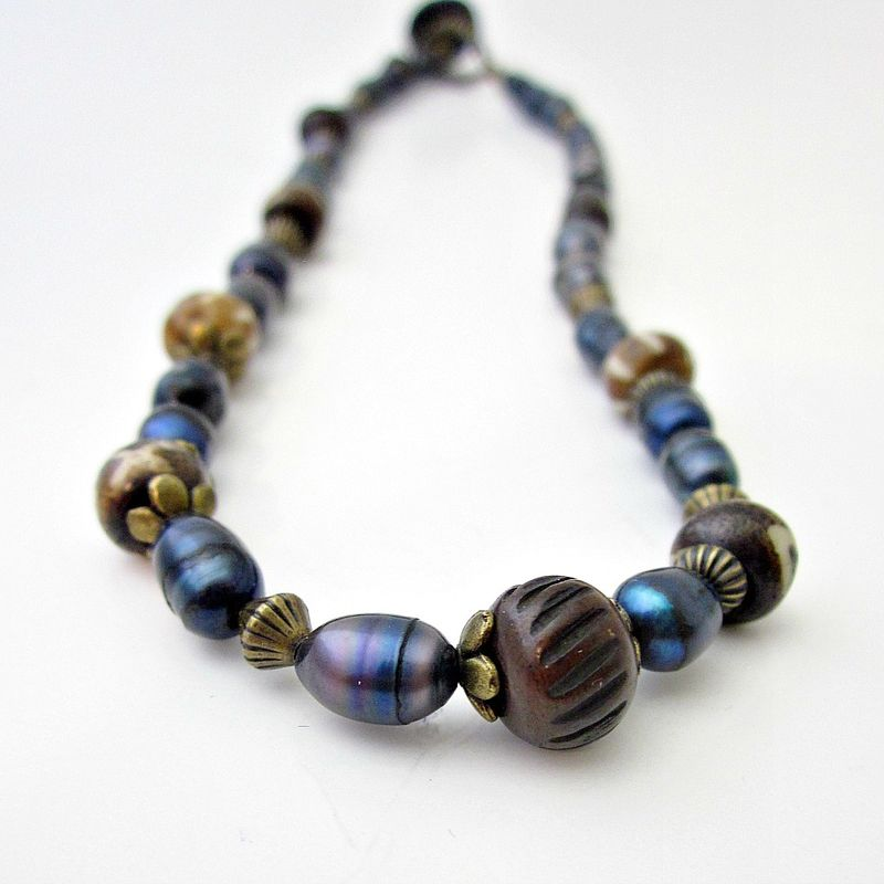 Beaded Blue Pearl and Bone Necklace: Neptune - product images  of