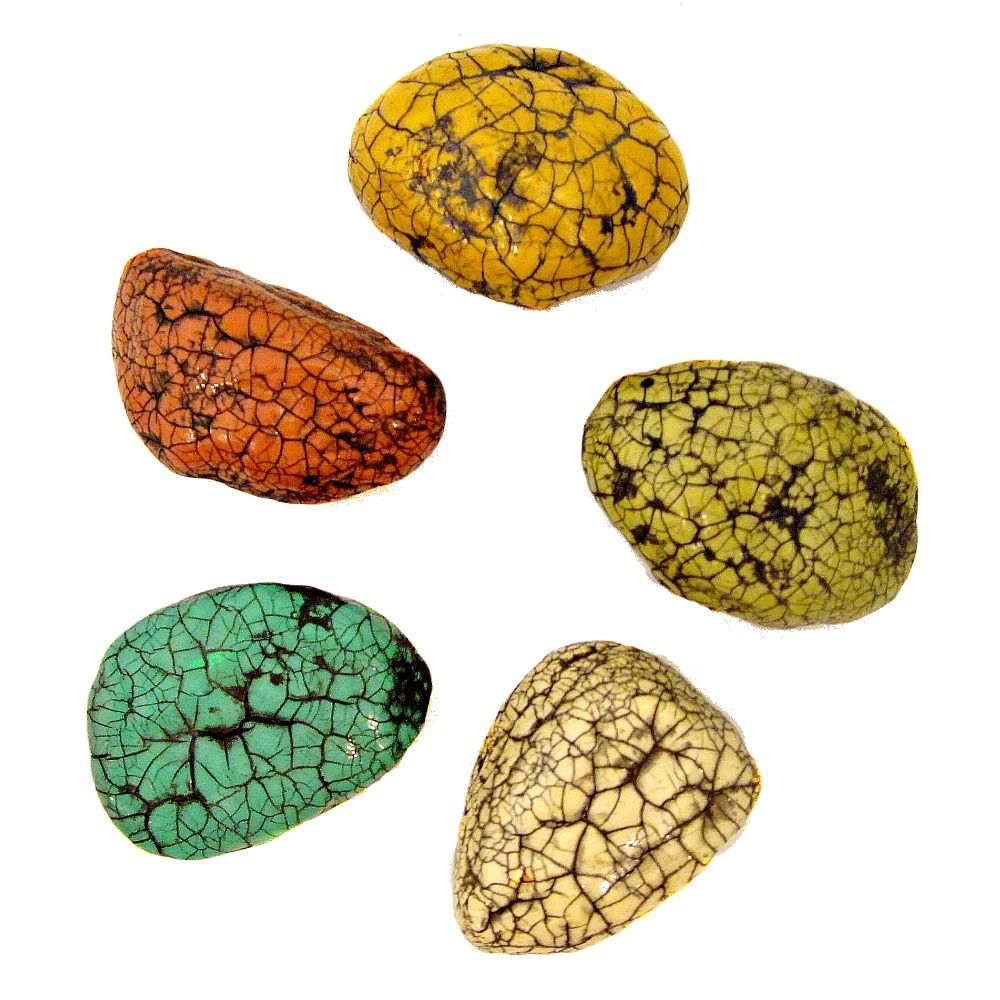 colorful magnet set five paper mache crackled stone recycled