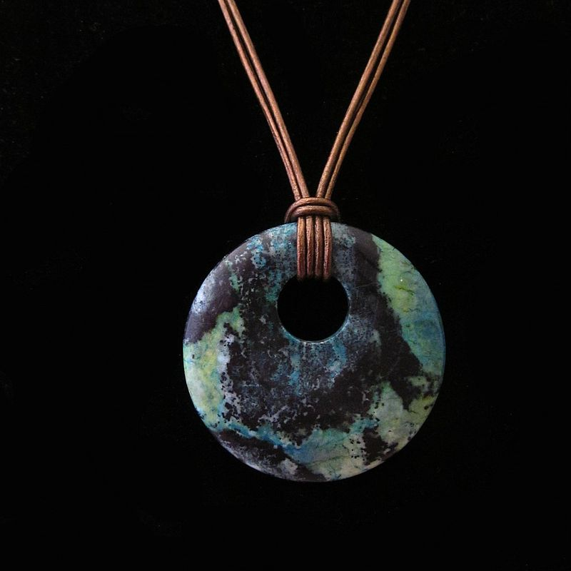 Adjustable Oversized Dyed Jasper Donut Pendant on Leather Cord Necklace: Deep Sea - product images  of