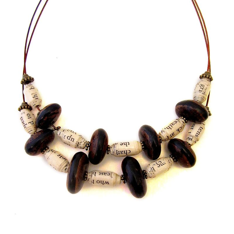 Adjustable Double Strand Beaded Cable Necklace with Handmade Paper and Natural Muyu Fruit Seed Beads - product images  of