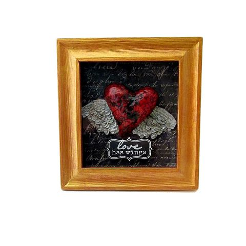 Shadow,Box,Heart,Keepsake,,Paper,Mache,with,Newspaper,Wings:,Temperate,gold shadowbox art, heart in a shadowbox, heart with wings, handmade paper mache, papier mache, recycled art