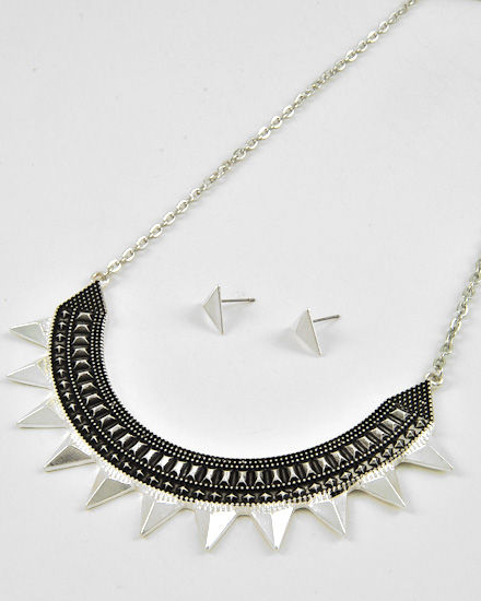 Antique Silver Spike Necklace and Earrings Set - product image