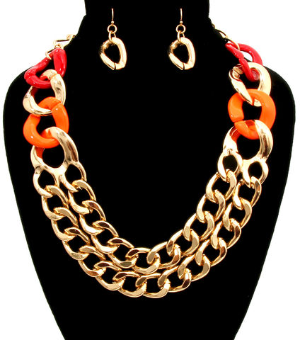 Orange,,Red,and,Gold,Link,Necklace,Earrings,Set