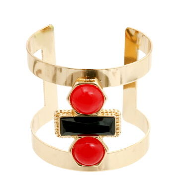 Red,and,Black,Double,Cuff,Bracelet,cuff bracelet, color block cuff bracelet, red cuff bracelet, black cuff bracelet, gold cuff bracelet, urban bracelet, two tone cuff bracelet, women's fashion jewelry, costume jewelry cuff bracelet
