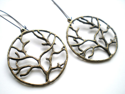 Brass,Branches,of,Life,Antique,Earrings,Jewelry,Dangle,branches,everyday_wear,tree_of_life,antique_brass,gifts_under_20,lightweight_earrings,nature_earrings,tree_earrings,autumn_earrings,botanical_earrings,pendants,kidney ear wires