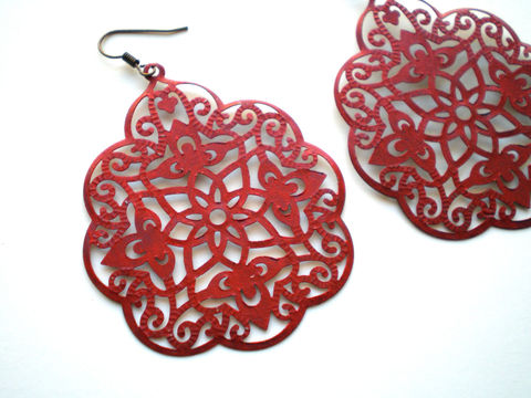 Red,Hand,Painted,Lace,Filigree,Earrings,Jewelry,Dangle,bridesmaid_gifts,red_earrings,painted_earrings,painted_filigrees,bohemian_earrings,lace_earrings,lightweight_earrings,boho_earrings,under_25,painted_metal,filigree_jewelry,stocking_fillers,filigrees,ear wires