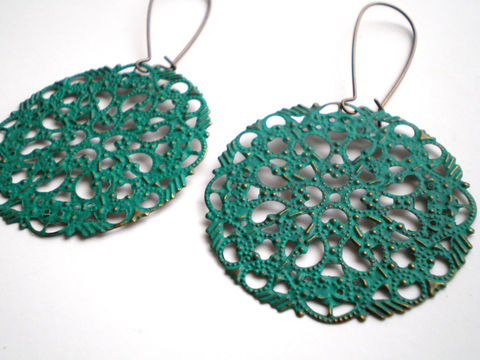 Teal,Green,Filigree,Hand,Painted,Earrings,Women's,Fashion,Jewelry,Dangle,antique_brass,painted_earrings,statement_earrings,light_weight_earring,painted_filigree,teal_earrings,bohemian_earrings,fashion_jewelry,wholesale_earrings,green_earrings,women's_earrings,earrings,jewelry,filigrees,brass kidney ear