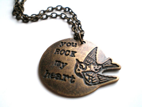 Brass,Hand,Stamped,Charm,Necklace-,You,Rock,My,Heart,Jewelry,Necklace,pendant_necklace,hand_stamped,valentines_day,love_necklace,you_rock_my_heart,antique_brass,romantic_necklace,statement_necklace,bird_necklace,under_25,antique brass charm,antique brass chain,antique brass lobster clasp