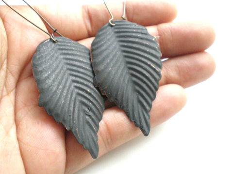 Black,Leaf,Hand,Painted,Earrings,Jewelry,Metal,leaves,painted_earrings,leaf_earrings,nature_lover,painted_metal,hand_painted,lightweight_earrings,under_20,bohemian_earrings,black_jewelry,nickel_free,expressionsbycheree,stocking_fillers,filigrees,copper kidney ear wires
