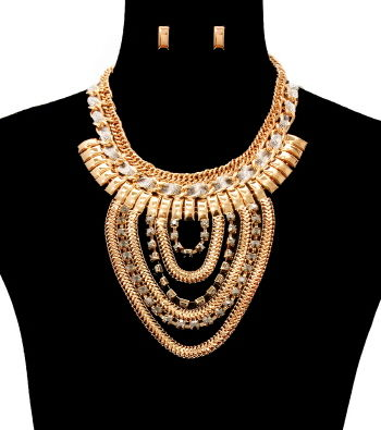 Zoey,Gold,Necklace,and,Earrings,Set,gold necklace, tassel necklace, black dress necklace, long necklace, multi chain necklace, statement necklace, gold layered necklace, fashion accessories, fashion necklace set, women's fashion, gold costume necklace set