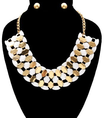 Ava,Necklace,and,Earrings,Set,white and gold necklace, white and gold statement necklace, gold necklace, tassel necklace, black dress necklace, long necklace, multi chain necklace, statement necklace, gold layered necklace, fashion accessories, fashion necklace set, women's fashion, g