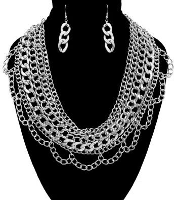 Silver,Multi,Chain,Necklace,and,Earrings,Set,silver necklace, tassel necklace, black dress necklace, long necklace, multi chain necklace, statement necklace, gold layered necklace, fashion accessories, fashion necklace set, women's fashion, silver costume necklace set