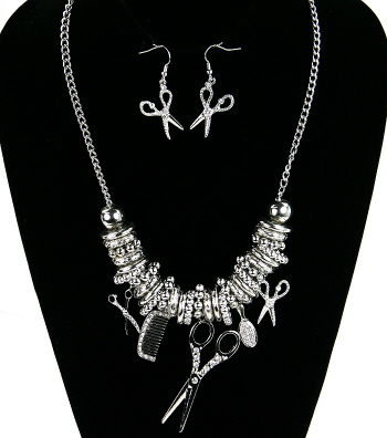 Silver,Hair,Stylist,Necklace,&,Earring,Set,silver, comb, scissors, jewelry, necklace, earrings, necklace and earring set, fashion, celebrity inspired jewelry