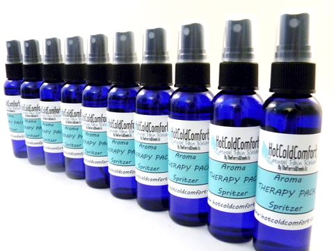 Ten,Pack,,Bulk,,Wholesale,,Aromatherapy,Spritzers,for,Microwave,Heating,Pads,and,Cold,Packs,spray for heat packs, spritzer, mist, aromatherapy, lavender, chamomile, microwave, heating pad, hot pack, cold pack, moist heat, essential oil, therapy pack