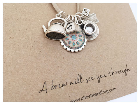 For,those,who,love,a,cup,of,tea.,friend, necklace, personalised, card, sentiments, cup, tea, charms
