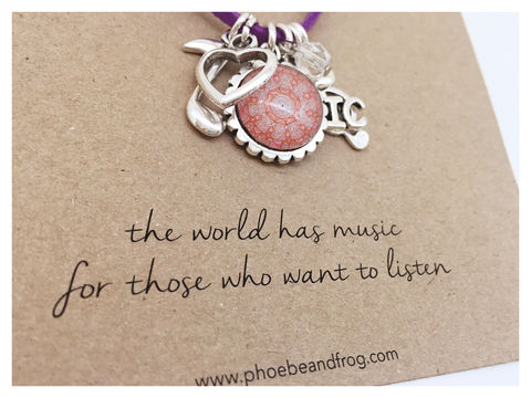 For,music,lovers.,friend, necklace, personalised, card, sentiments, charms, music