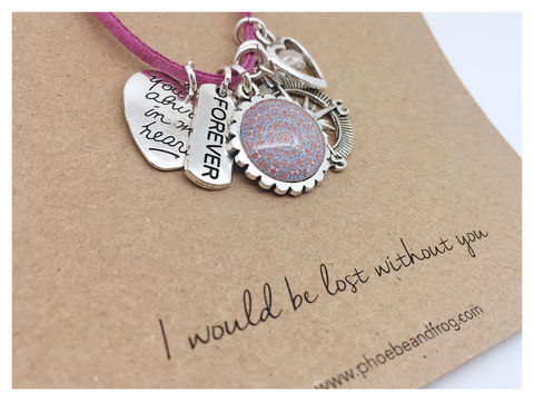 For,someone,special.,friend, necklace, personalised, card, sentiments, charms, special