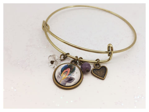 Birds,of,a,Feather,Bangle,feathers, bangles, charms, stackable