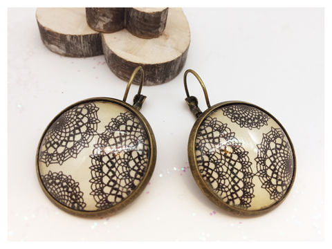 Lace,Earrings,earrings, modern, contemporary, lace, bronze
