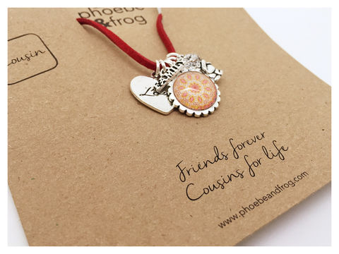 For,a,special,cousin., necklace, personalised, special, card, sentiment, charms, sparkle, fairy