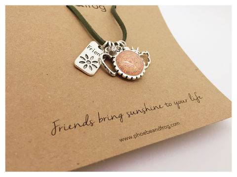 For,a,special,friend., necklace, personalised, special, card, sentiment, charms, friends