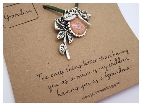 FOR,GRANDMA.,Grandmother, necklace, personalised, special, card, sentiment, charms, grandma, nanna