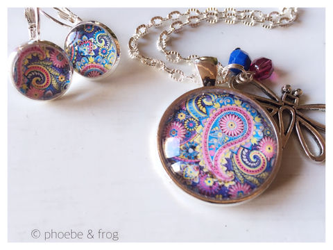 Beautiful,Colours,Set,colourful, necklace, pendant, modern, colourful, paisley, set, silver