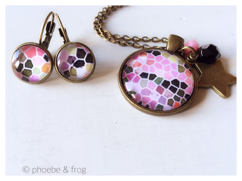 Pink,Mosaic,Set,mosaic, necklace, pendant, modern, colourful, pink set, silver