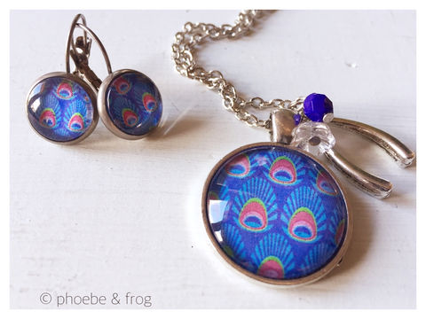 Blue,Peacock,Set,peacock, necklace, pendant, modern, colourful, blue, set, silver