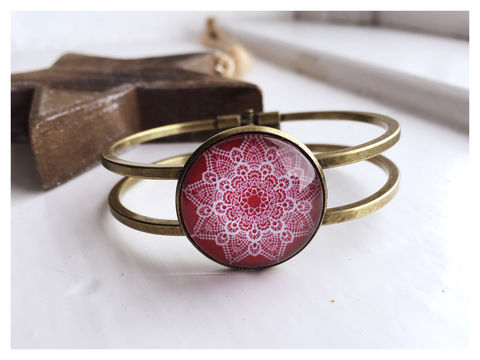 Red,Lace,Cabochon,Bangle,bangle, bronze, red, lace