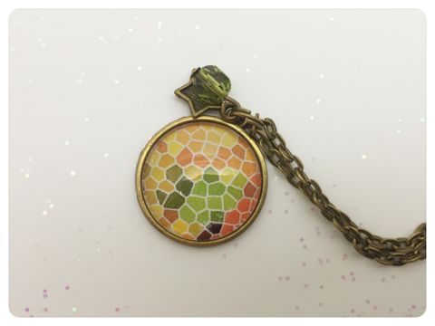 Yellow,Mosaic,Pendant,mosaic, necklace, pendant, modern, colourful, cabochon,