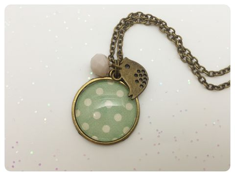 Green,Dots,Pendant,green, bird, necklace, pendant, modern, colourful, cabochon, dots, shabby chic