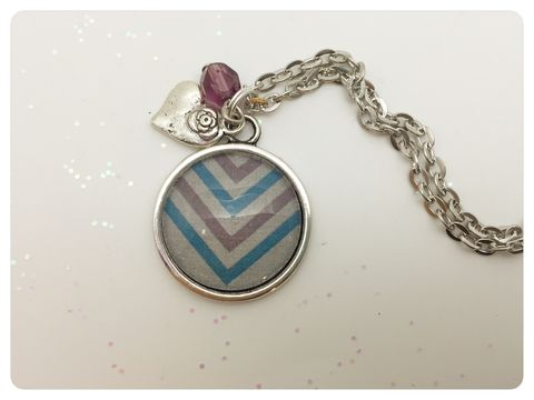 Chevron,Pendant,necklace, pendant, modern, colourful, cabochon, chevron