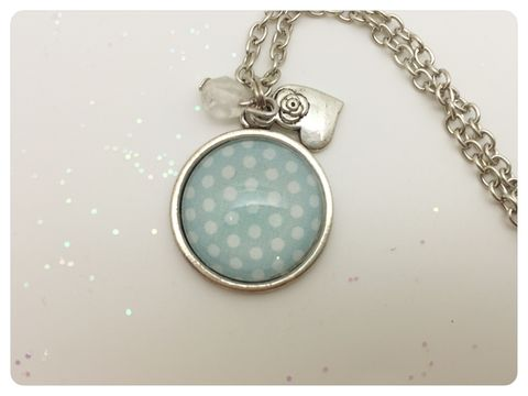 Pale,Blue,Polka,Pendant,necklace, pendant, modern, colourful, cabochon, pale blue, spots