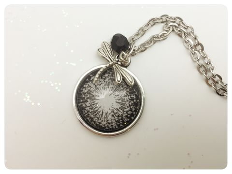 Dandelion,Pendant,necklace, pendant, modern, colourful, cabochon, black, white, dandelion