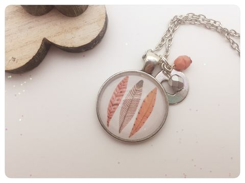 Feathers,Pendant,necklace, pendant, modern, colourful, cabochon, peach, feathers