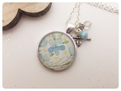 Forget,Me,Not,Pendant,necklace, pendant, modern, colourful, cabochon, blue, forget me not